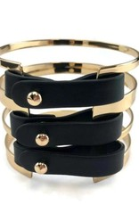 Gold/Black Faux Leather Statement Cuff