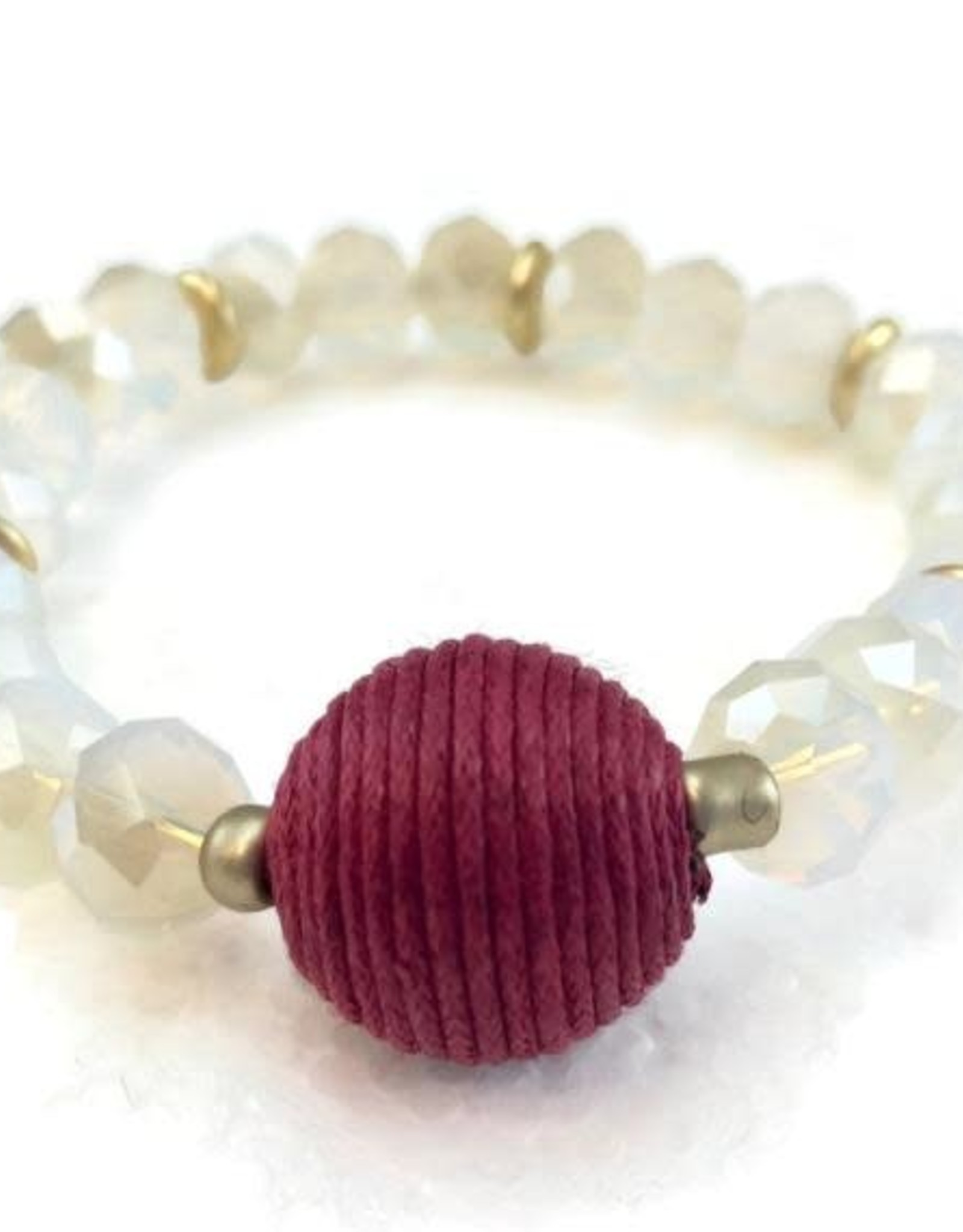 Crystal Bracelet with Red Wrapped Ball
