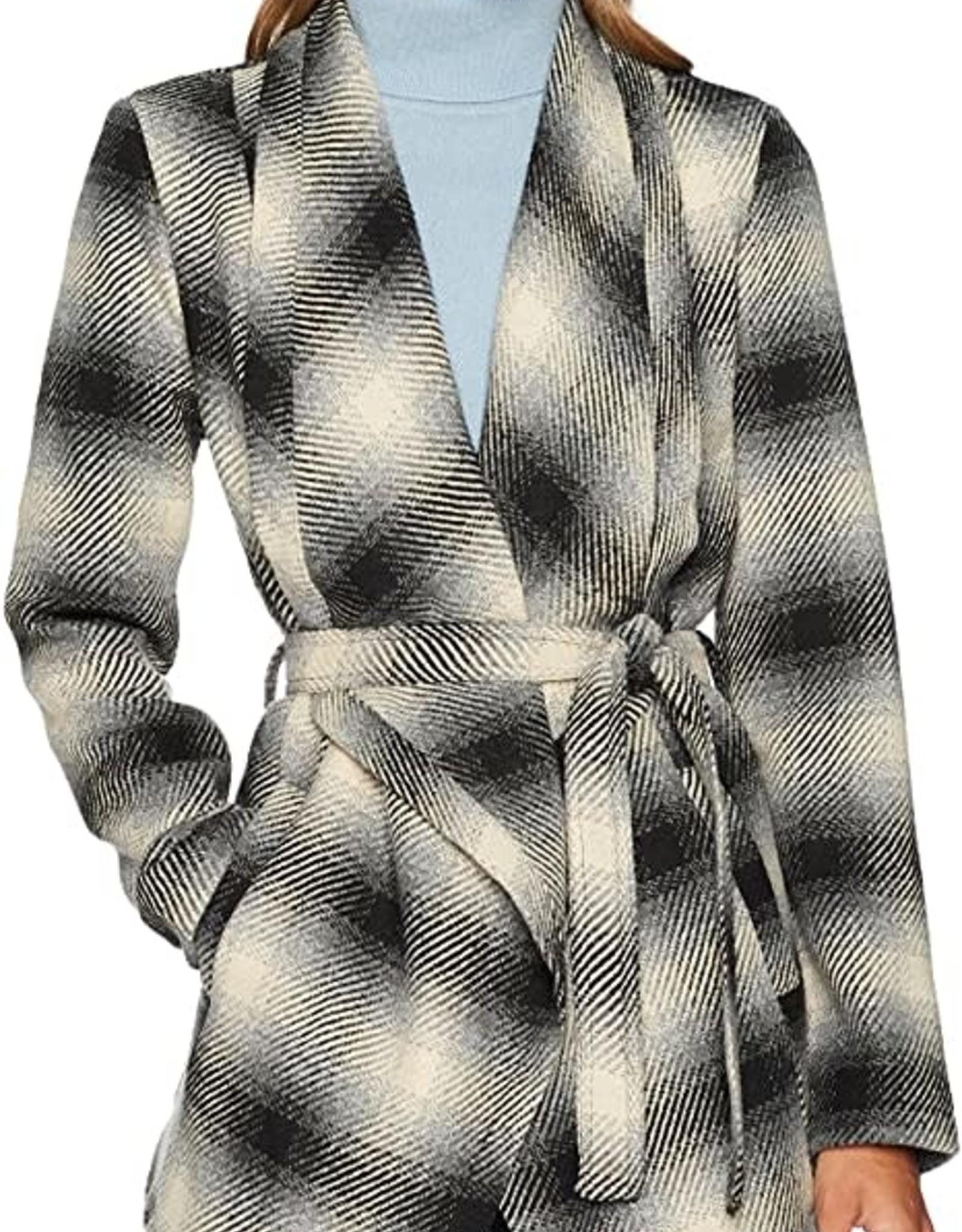 Jack Plaid Drape-Front Wrap Jacket