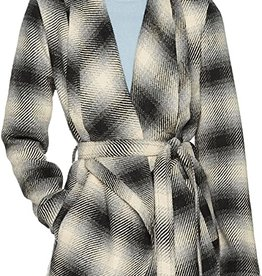 Jack Plaid Drape-Front Wrap Jacket