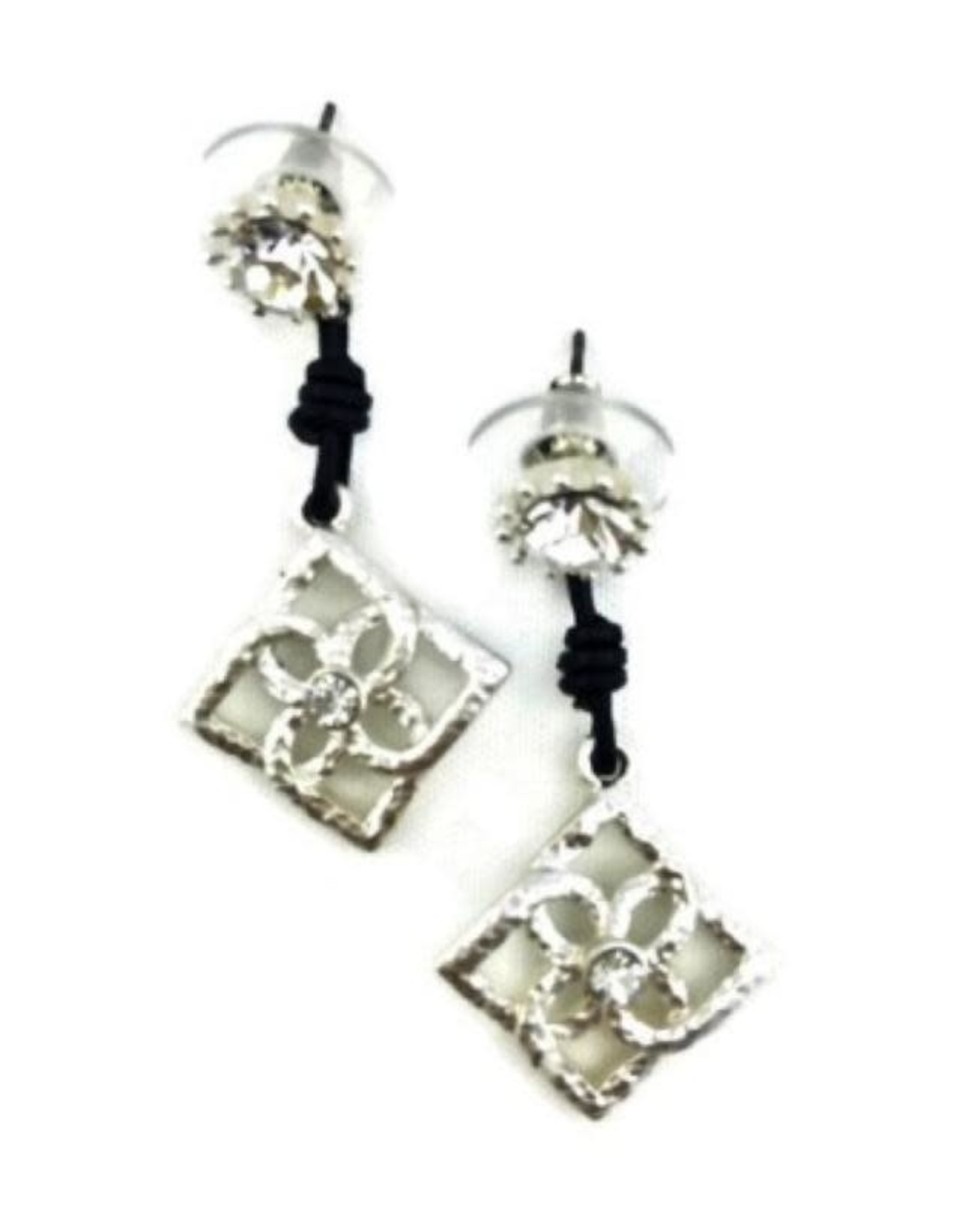 "A Touch of Style 1 1/2"" Silver Crystal Earring"