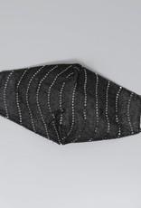 Face Mask Sequin Embellished Lurex Black Silver Wave