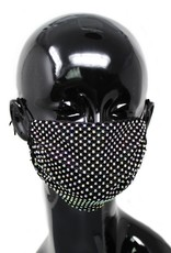 Face Mask Rhinestone Mesh Cotton Black AB