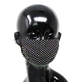 Face Mask Rhinestone Mesh Cotton Black AB
