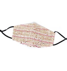 Face Mask Sequin Embellished Tweed w/Cotton Lining Pink/Gold