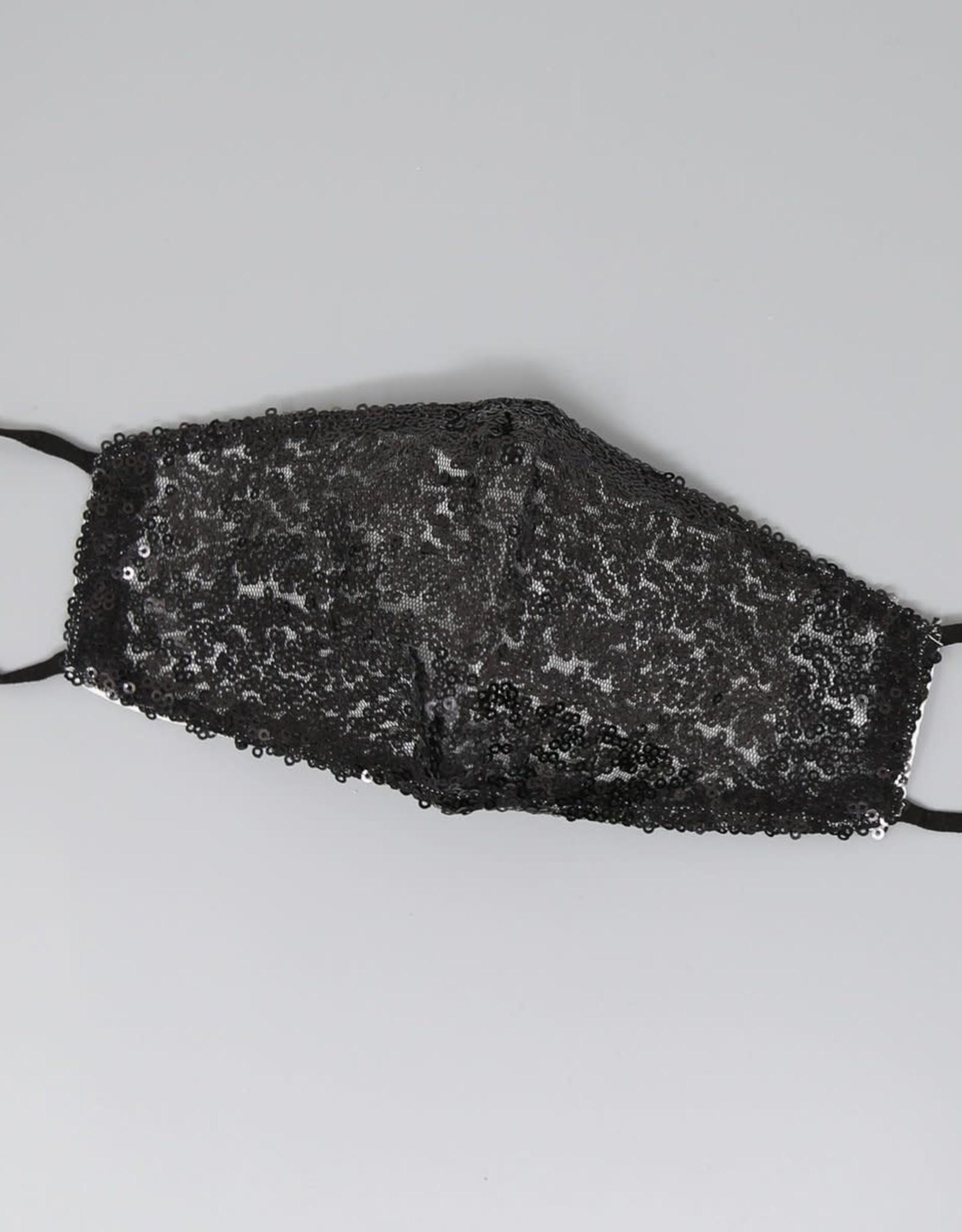 Face Mask Sequin Embellished Black