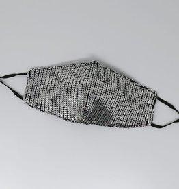 Face Mask Sequin Embellished Silver