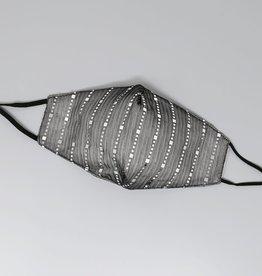 Face Mask Sequin Embellished Lurex Black Silver