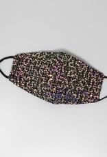 Face Mask Sequin Embellished Tweed w/Cotton Lining Black
