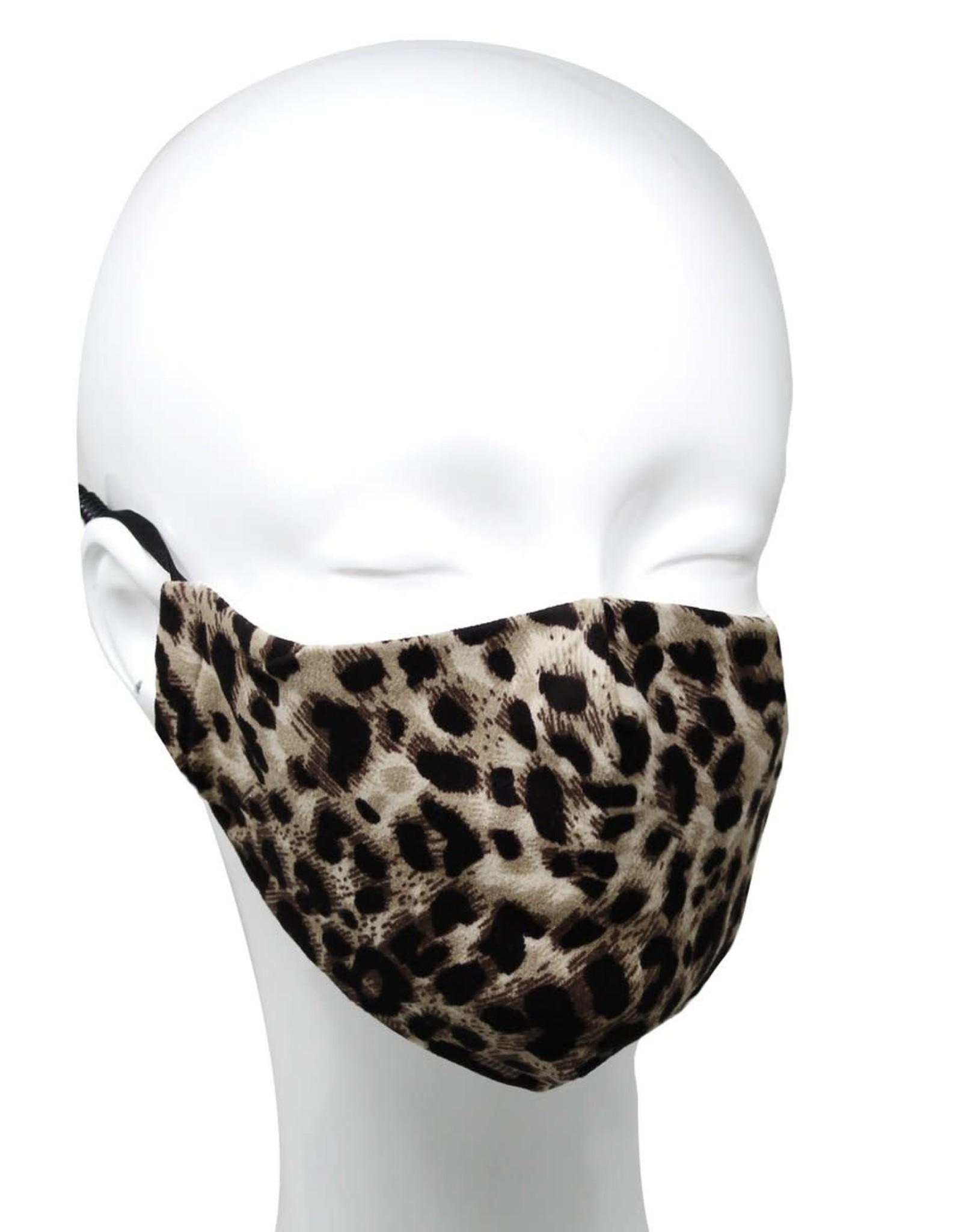 Face Mask Leopard Print w/Replaceable Filter Pocket