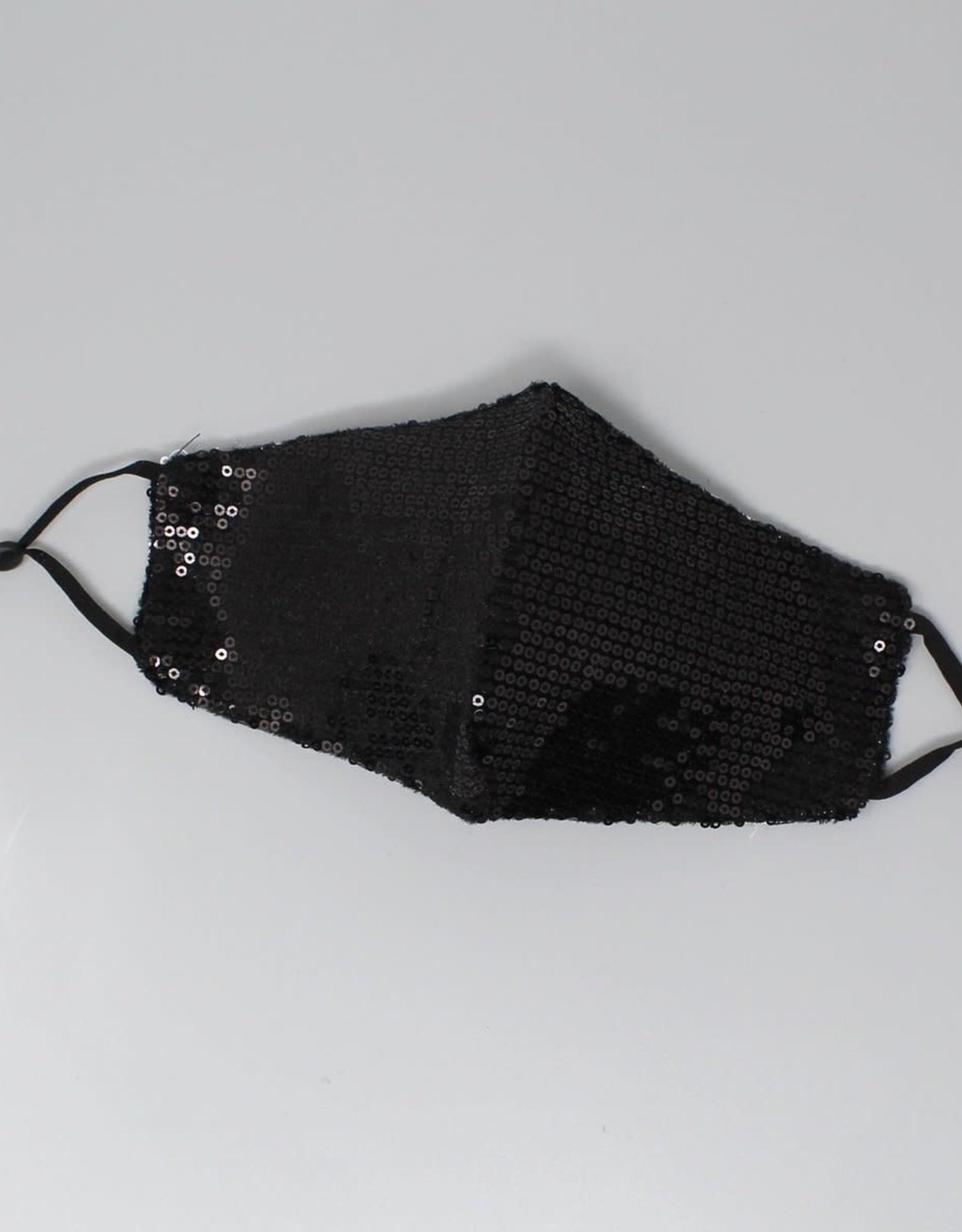 Face Mask Sequin Embellished Cotton Black