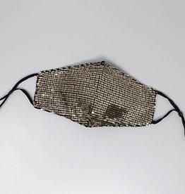 Face Mask Sequin Embellished Cotton Gold