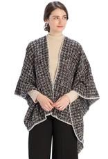 Tweed Soft Touch Ruana - Black/Pink Multi
