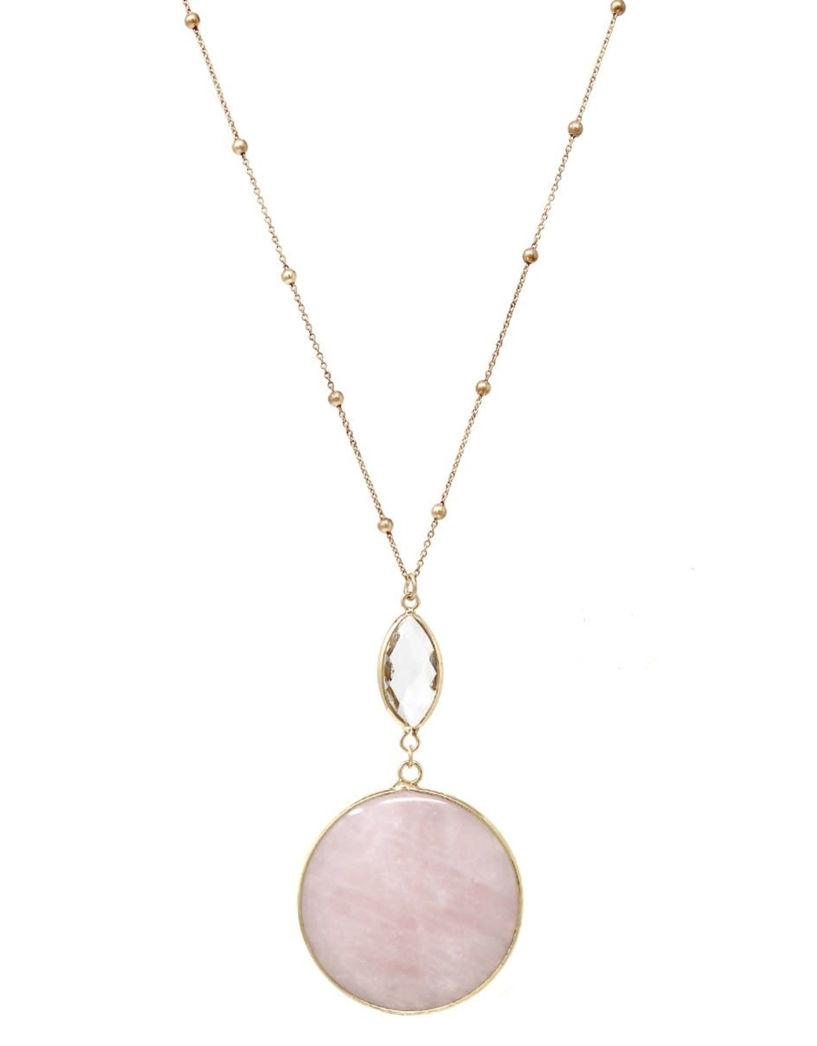 Marquise Glass Natural Stone Disc Pendant Ball Chain Long Necklace - Pink