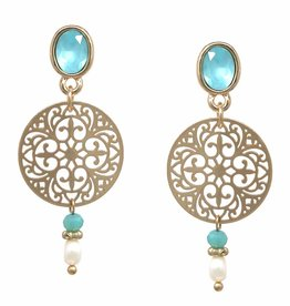 Freshwater Pearl Drop Earrings - Gold/Turquoise