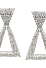 Crystal Textured Metal Triangle Drop Earrings - Silver