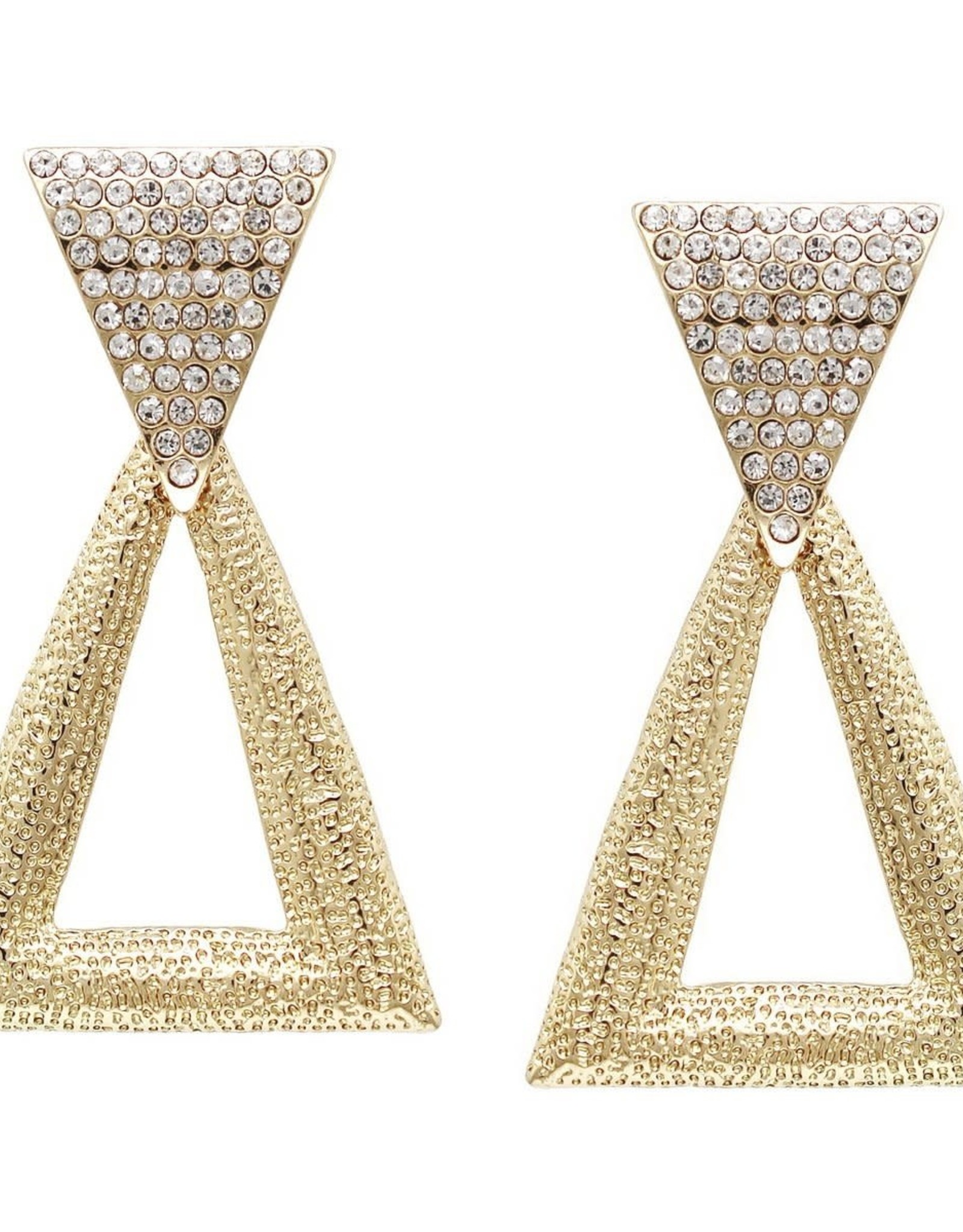 Crystal Textured Metal Triangle Drop Earrings - Gold