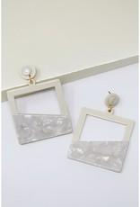 Geometric Color Block Drop Earrings - Cream