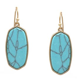 Framed Natural Stone Plate Drop Earrings - Turquoise