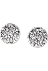 Rhinestone Pave Curved Disc Stud Earrings