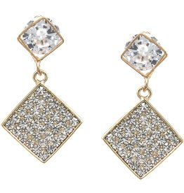 Cubic Zirconia Pave Rhombus Drop Earrings - Gold