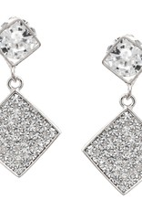 Cubic Zirconia Pave Rhombus Drop Earrings - Silver