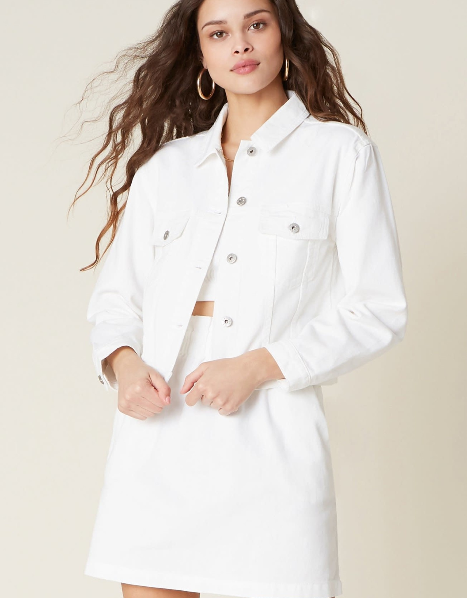BB Dakota White Crop Denim Jacket