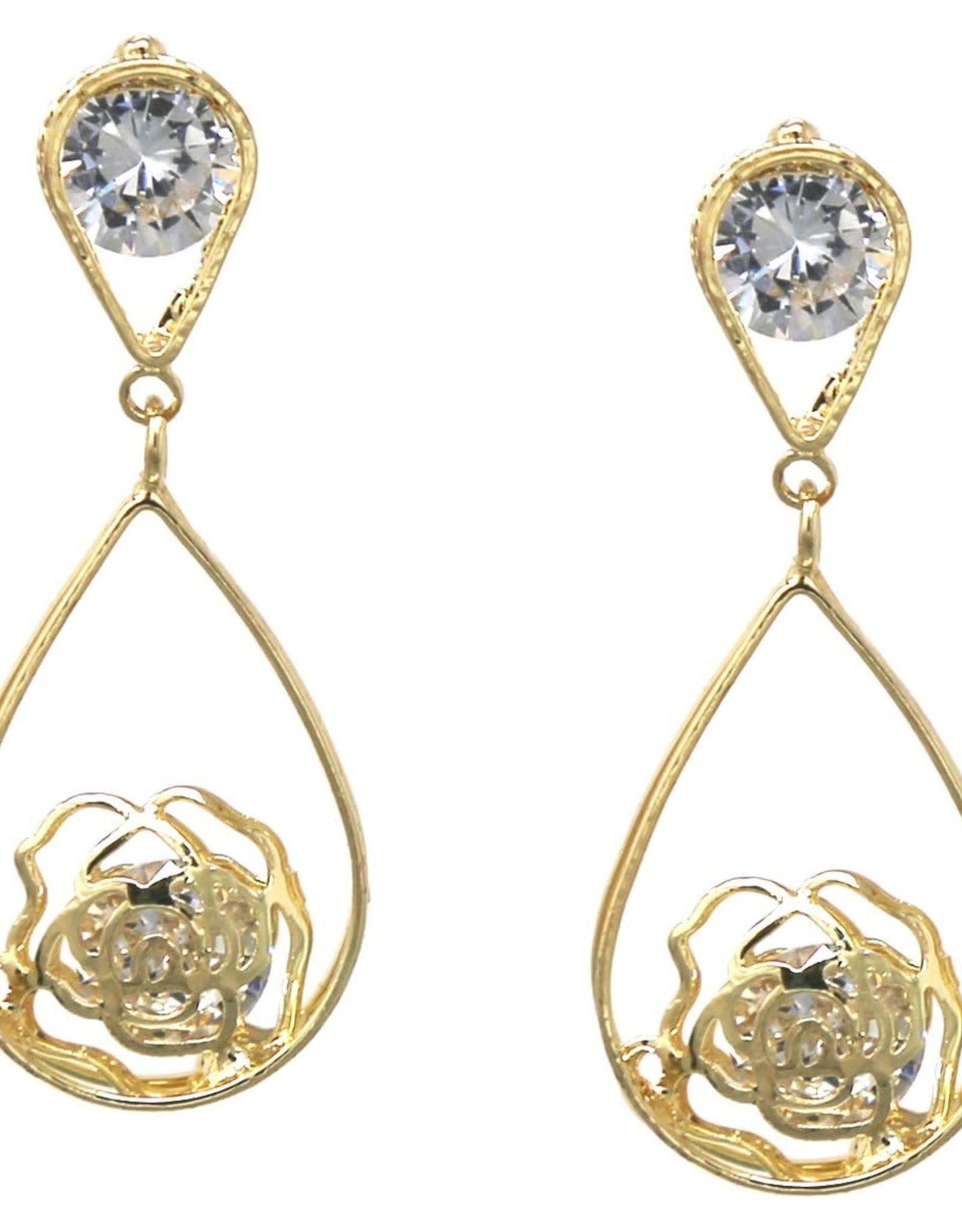 Cubic Zirconia Pave Rose Teardrop Earrings