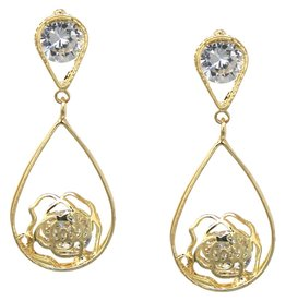 Cubic Zirconia Pave Rose Teardrop Earrings