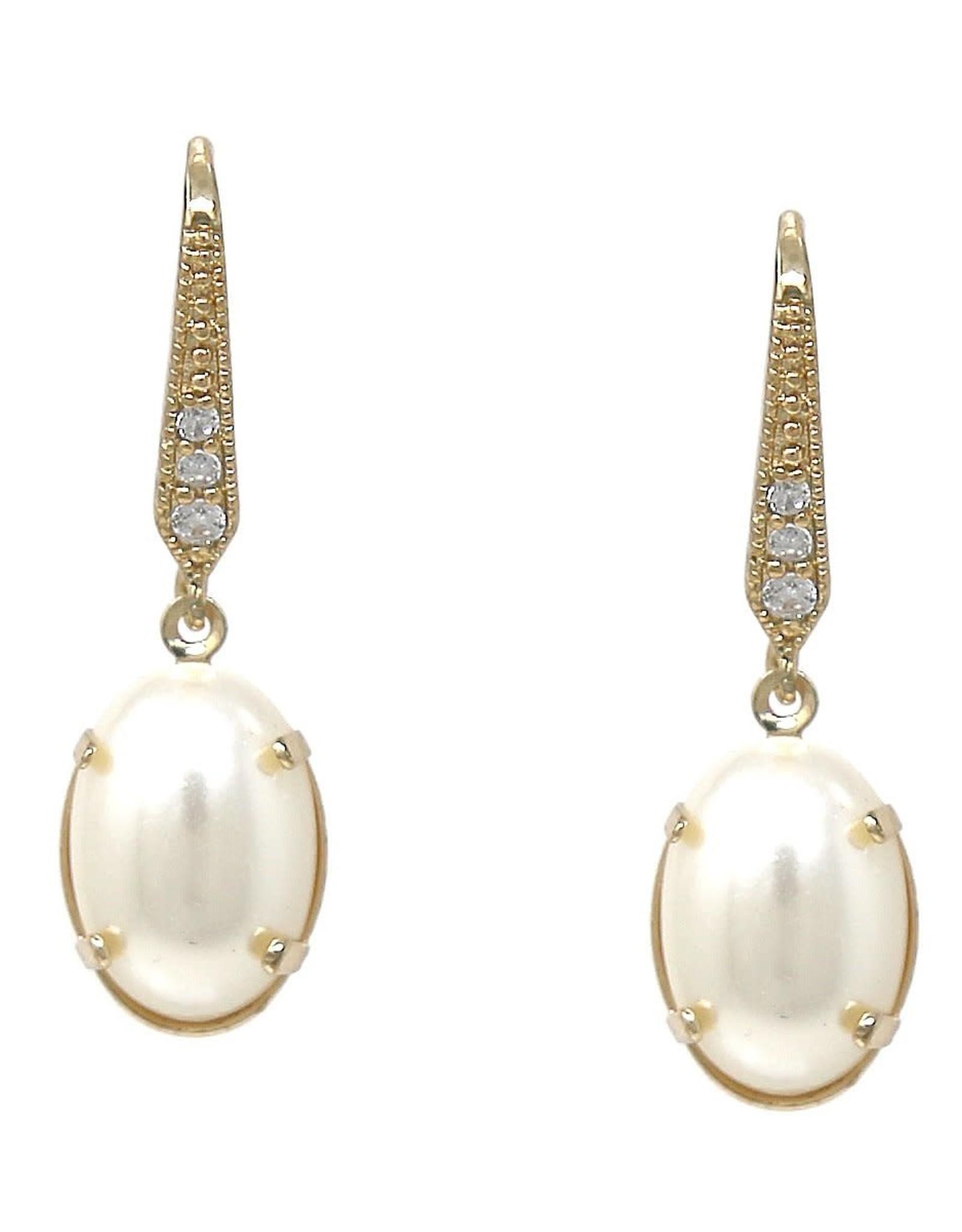 Cubic Zirconia Pave Oval Pearl Drop Earrings