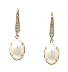 Cubic Zirconia Pave Oval Pearl Drop Earrings