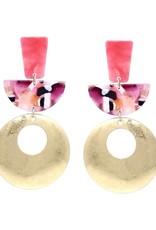 Geo Shape Drop Earring Pink/Purple/Gold