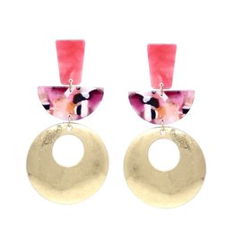 Geo Shape Drop Earring Pink/Purple/Gold