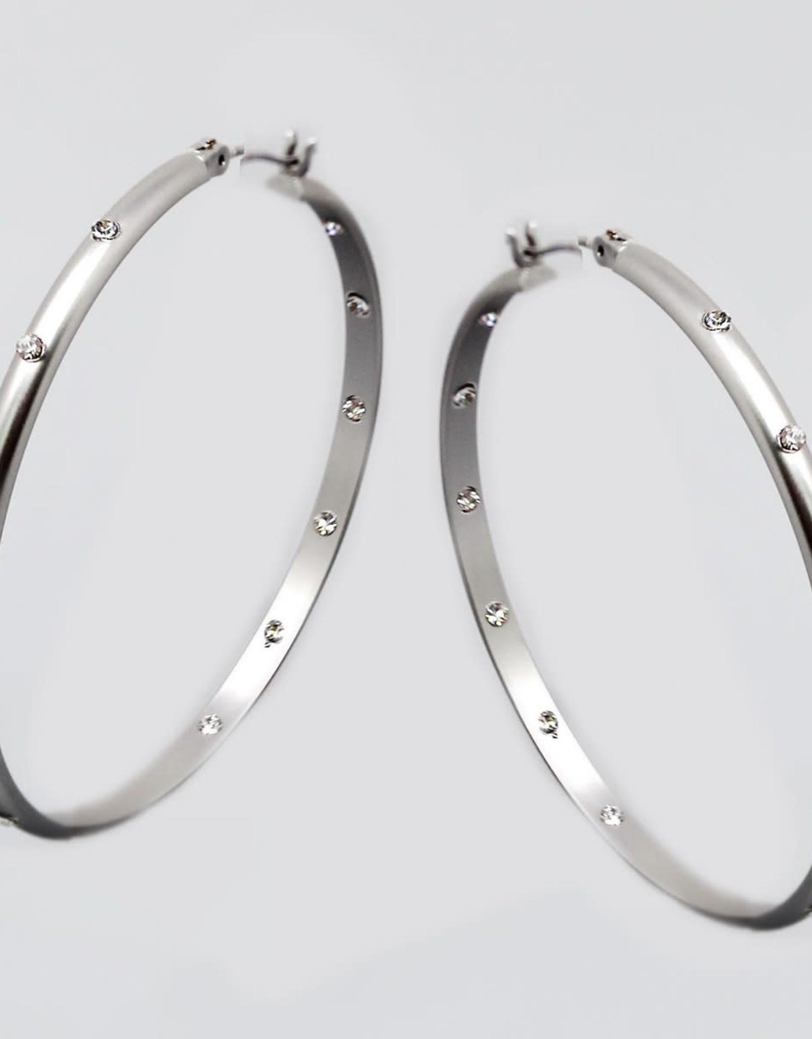 Rhinestone Embellished Hoop Earrings