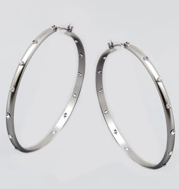 Rhinestone Embellished Hoop Earrings
