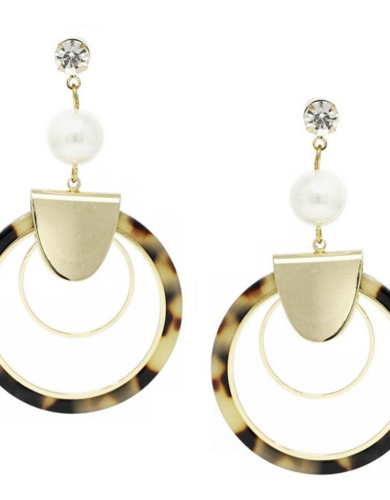 Double Hoop Statement Earring with Pearl and Crystal