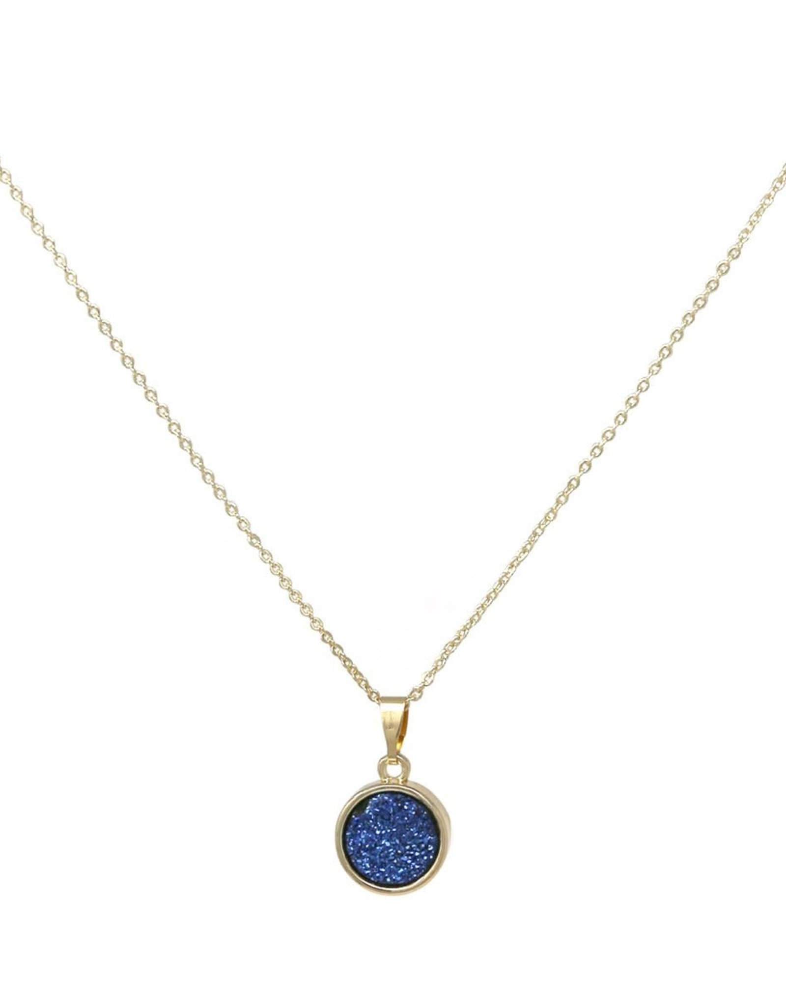Round Druse Pendant Short Necklace - Blue