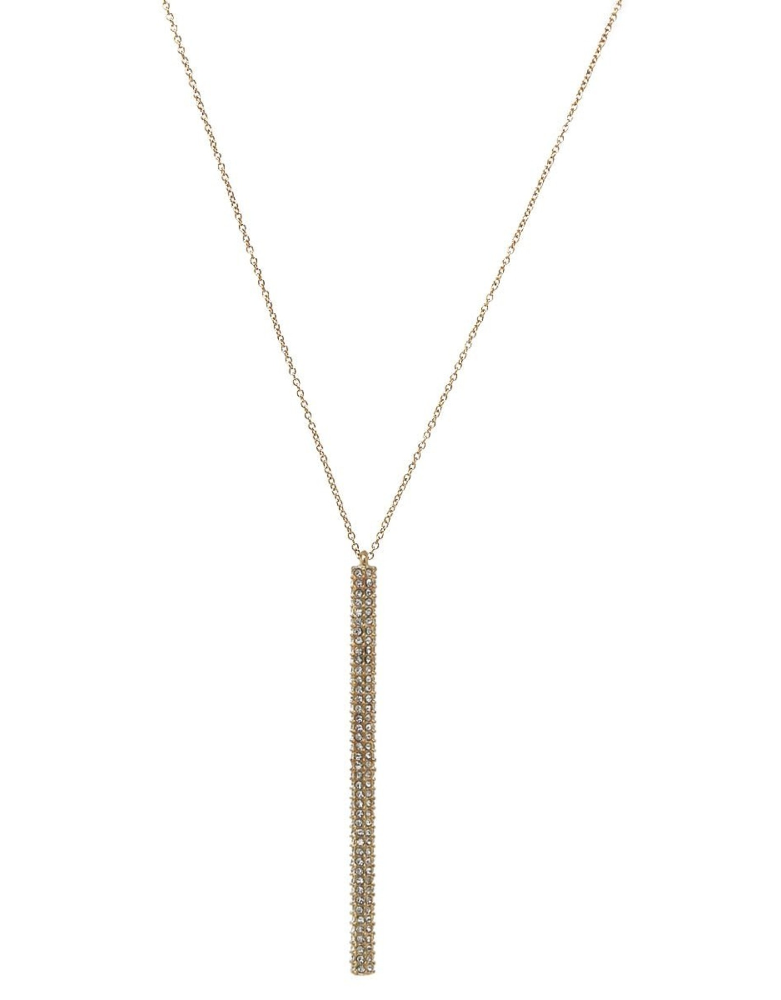 Rhinestone Pave Bar Pendant Long Necklace - Gold/Clear