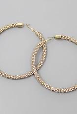 Rhinestone Chain Wrapped Hoop Earrings (80mm) - Gold