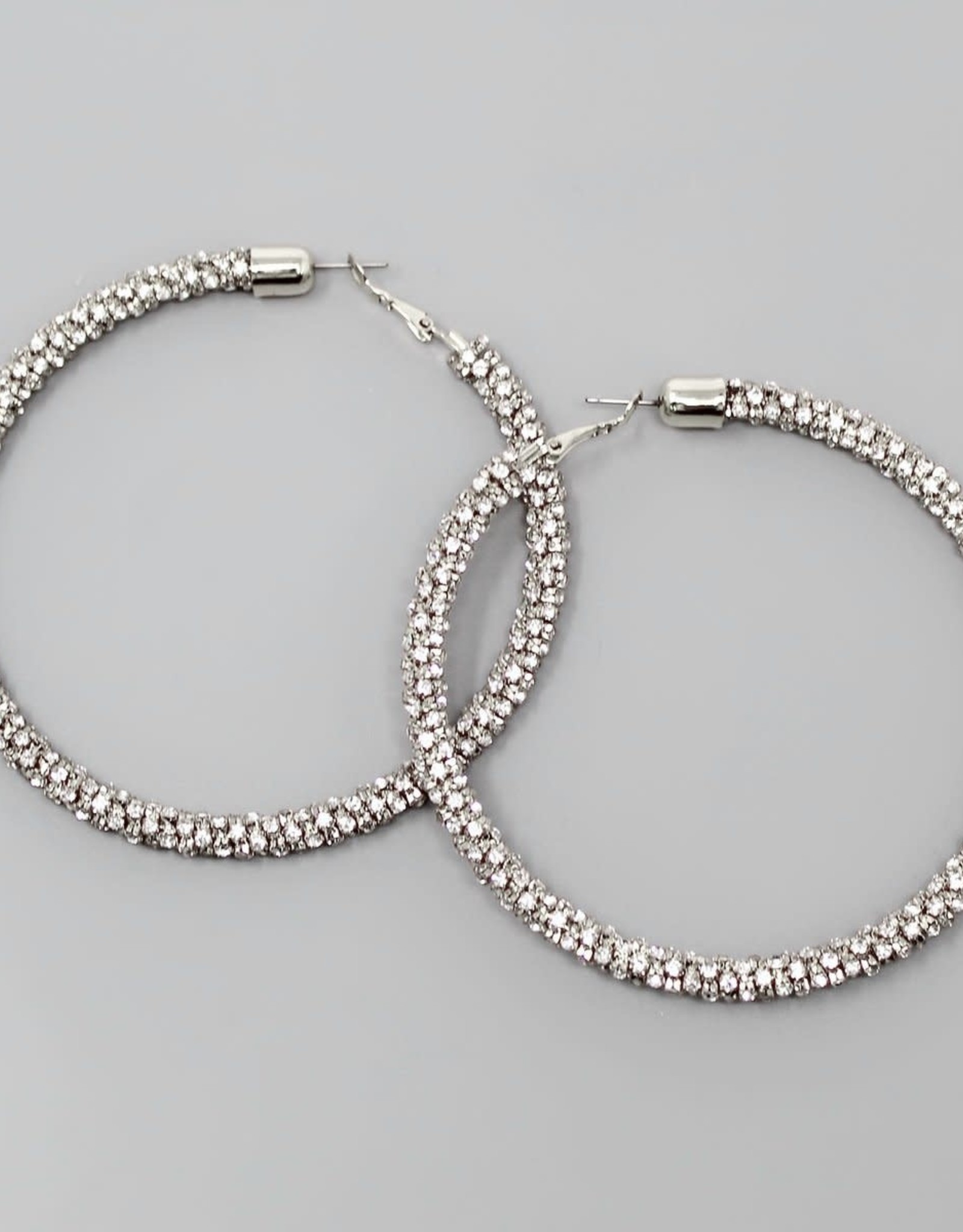 Rhinestone Chain Wrapped Hoop Earrings (80mm) - Silver