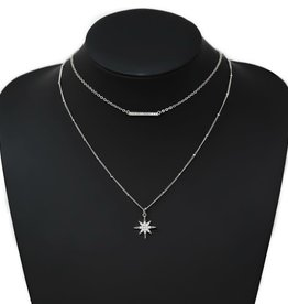 Pearl Embellished Starburst Charm Layered Short Necklace