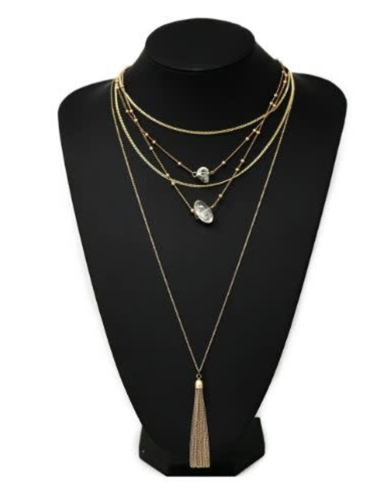 Glass Stone Charm and Chain Tassel Antique Long Layered Necklace