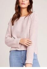 BB Dakota Pink Chenille Sweater w/Button Detail Shoulder