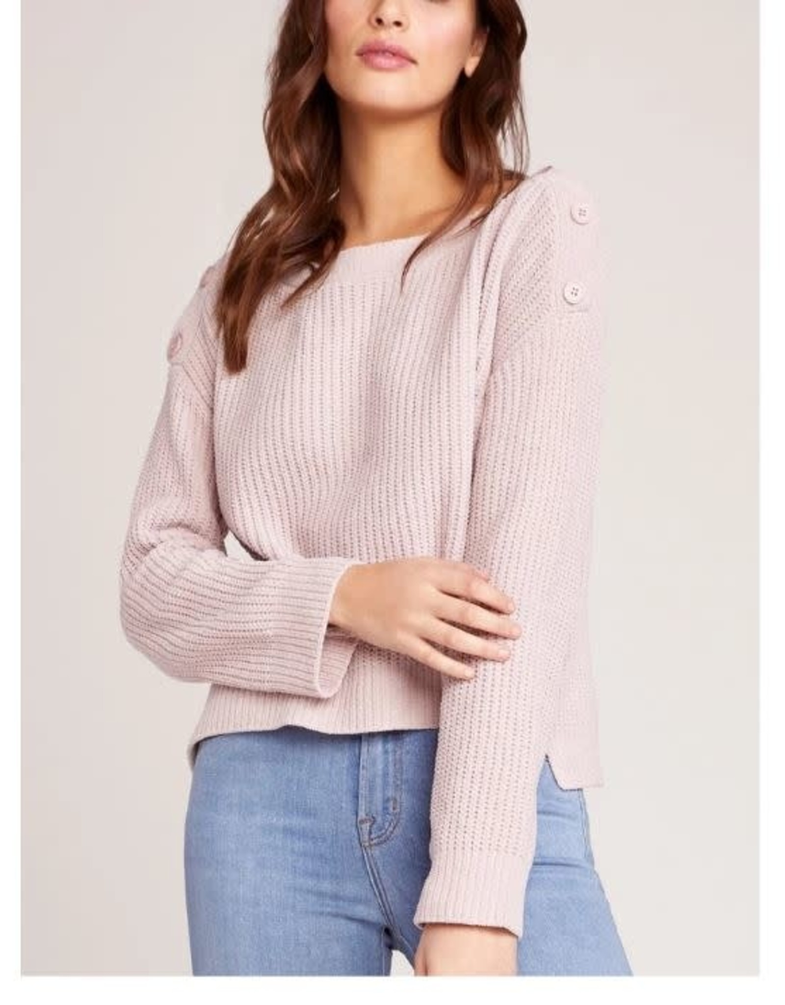BB Dakota Pink Chenille Sweater w/Button Detail Shoulder