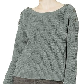 BB Dakota Olive Chenille Sweater w/Button Detail Shoulder