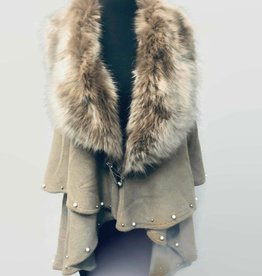 A Touch of Style Layered Fur Collar Pearl Embellished Cape Khaki