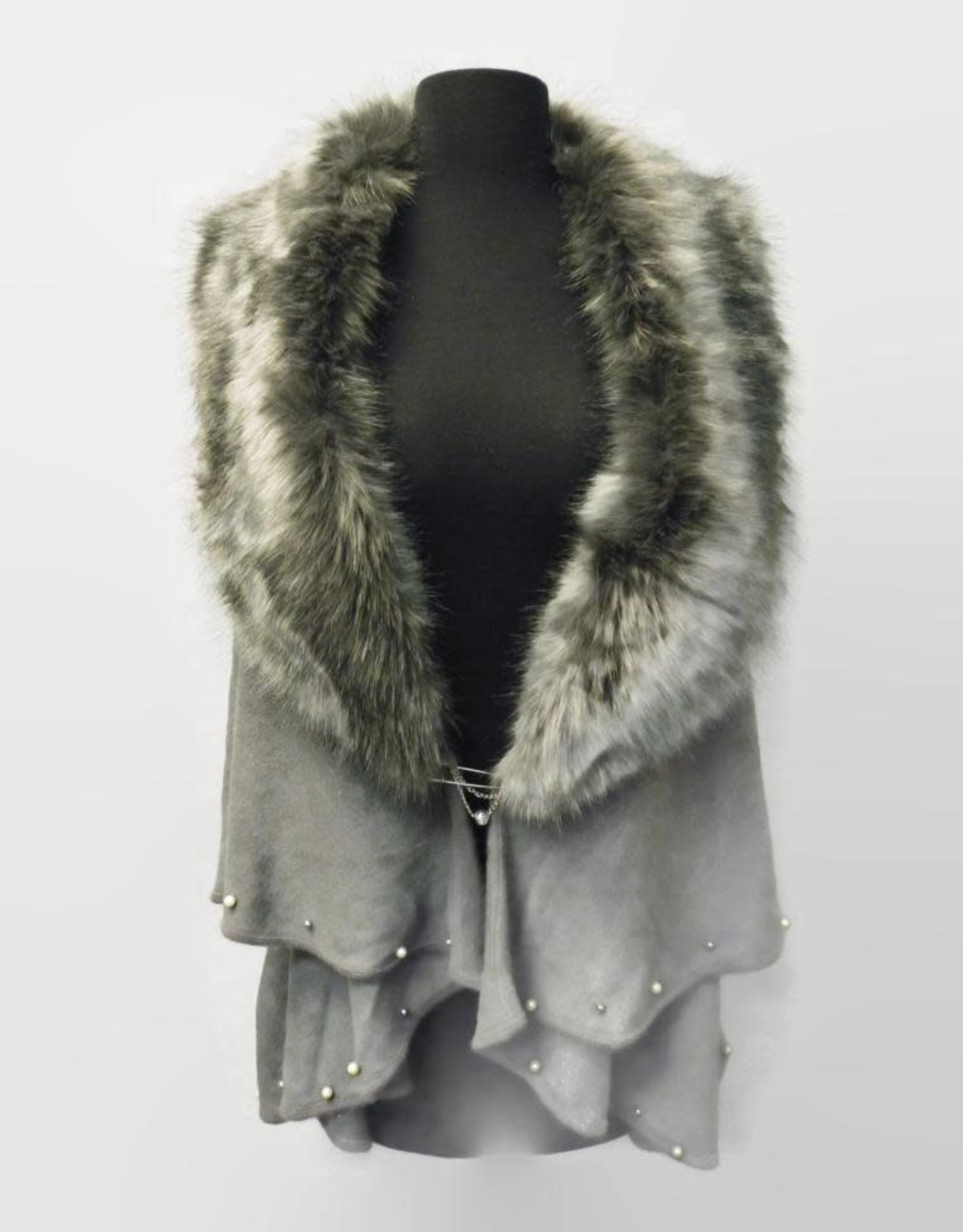 A Touch of Style Layered Fur Collar Pearl Embellished Cape Grey