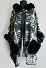 A Touch of Style Fur Hooded Cape with Front Buckle and Fur Pockets - Black, Beige, Grey