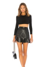 BB Dakota Faux Leather Ruffle Skirt