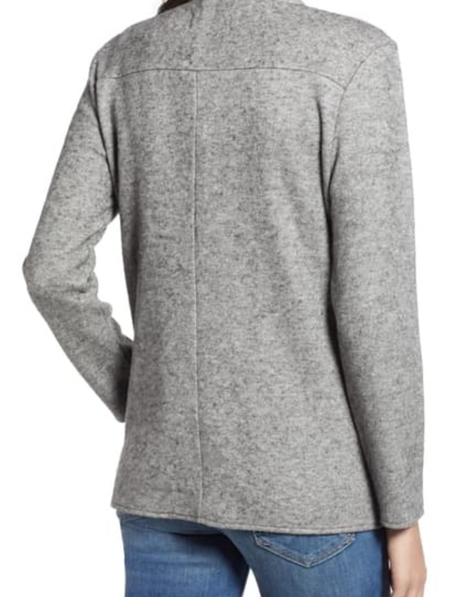 BB Dakota Knit Asymmetric Zip Jacket Heather Grey